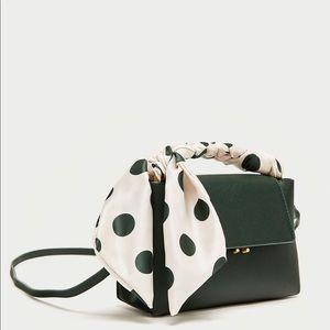 Green mini City Zara crossbody bag with scarf